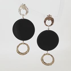 Orecchini in argento con disco di ossidiana nera