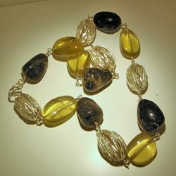 Collana in argento con quarzi citrini e agate