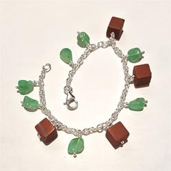 Silver bracelet and charms of jaspers and chrysoprase
